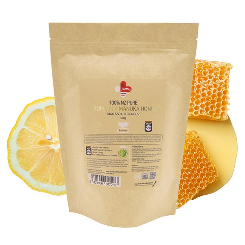 100% 뉴질랜드 프로폴리스 & 마누카허니 MGO 550+ 사탕 레몬맛